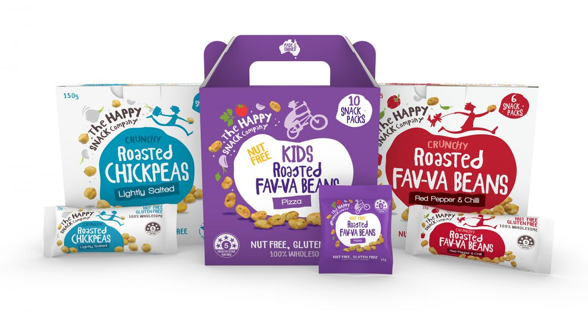 Selection of Happy Snack Savoury SKUs